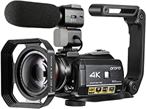 4K Camcorder, ORDRO AC3 Ultra HD Video Camera 1080P 60FPS IR Night Vision Camcorder and..