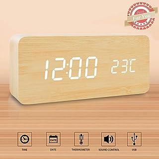 Wuudi Reloj despertador LED de madera, Cubo de madera Escritorio digital Despertador con alimentación dual, Control por voz, Hora / Fecha / Temperatura