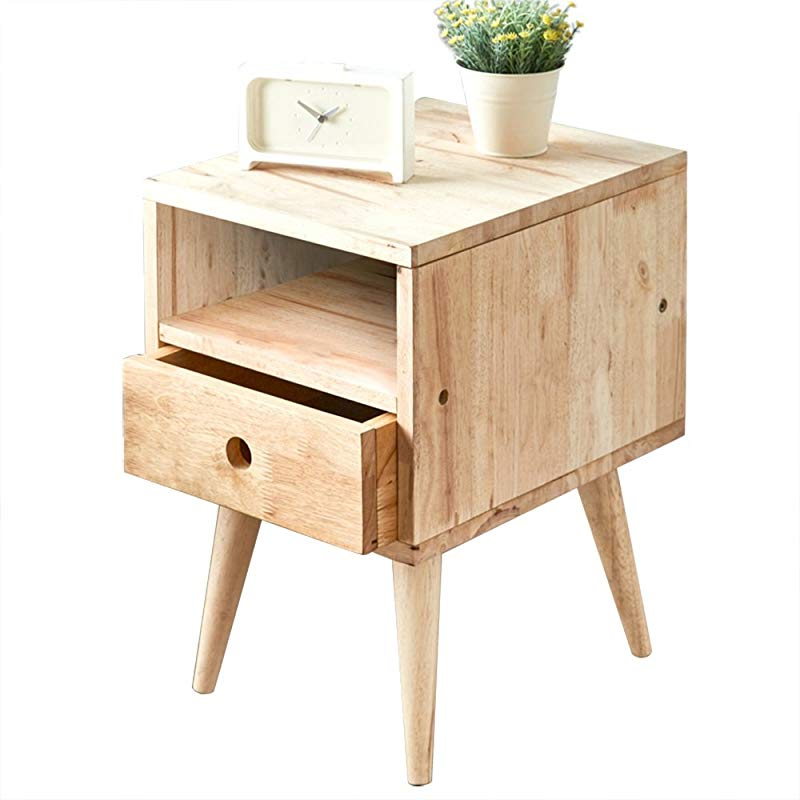 LS Bedside Table Drawer Locker Solid Wood Bedside Table Drawer Cabinet Living Room Side Cabinet Side Corner Wood Color Color B