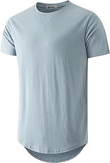 Mens 100% Cotton Hipster Hip Hop Longline Crewneck T-Shirt