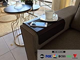 Sofa Couch Arm Tray Table with EVA Base. Weighted Sides. Fits Over Square Chair arms (Brown)