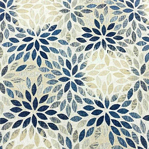 Kt KILOtela Tela de loneta Estampada - Retal de 100 cm Largo x 280 cm Ancho | Flores geométricas - Azul, Blanco, Beige ─ 1 Metro