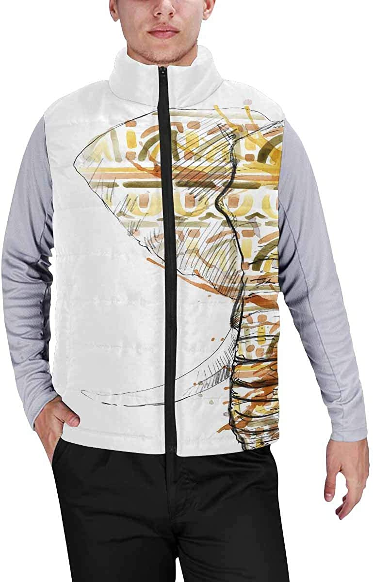 InterestPrint Casual Classic Quilted Sleeveless Vest for Men Elegant Floral Pattern