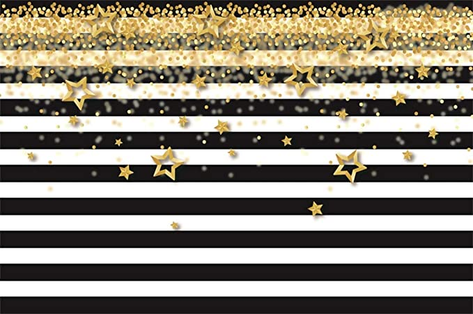 Golden Stars Background 8x6ft Happy Birthday Polyester Photography Backdrop Sparkle Stars Frame Golden Dots Watercolor Paint Kids Baby Shower Party Banner Decor Portraits Shoot Customizable