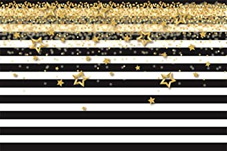 CSFOTO 7x5ft Background Gold Stars Confetti Black and White Stripes Birthday Party Decor Photography Backdrop Baby Shower Party Banner Celebration Child Adult Photo Studio Props Polyester Wallpaper