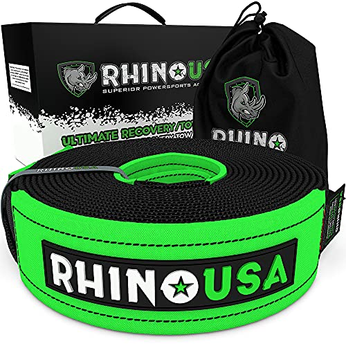 Rhino USA Recovery Tow Straps - Heavy Duty Draw String Included (30' x 4