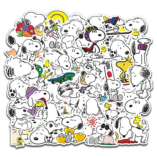 BLOUR 50 Stück Cartoon Snoopy Aufkleber für Laptop Skateboard Gepäck Aufkleber Büro Spielzeug Geräte Netbook wasserdichte Aufkleber