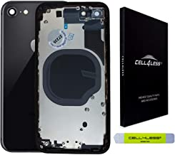 CELL4LESS Back Housing Assembly Metal Frame w/Back Glass - Wireless Charging pad - Sim Card Tray and Camera Frame and Lens...