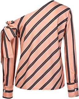 Orangeskycn Women Bow Tie Stripe Long Sleeve Loose Casual Blouse T-Shirt