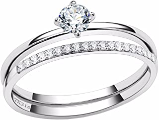 Lanyjewelry 4x4mm Round Clear CZ Stainless Steel Small Thin Delicate Band Wedding Ring Set
