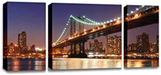 CCArtist New York City Manhattan Bridge Over Hudson River with Skyline After Wall Decoration Print Photo on Canvas Modern Photography Home Decor Modern Canvas Painting Wall Art