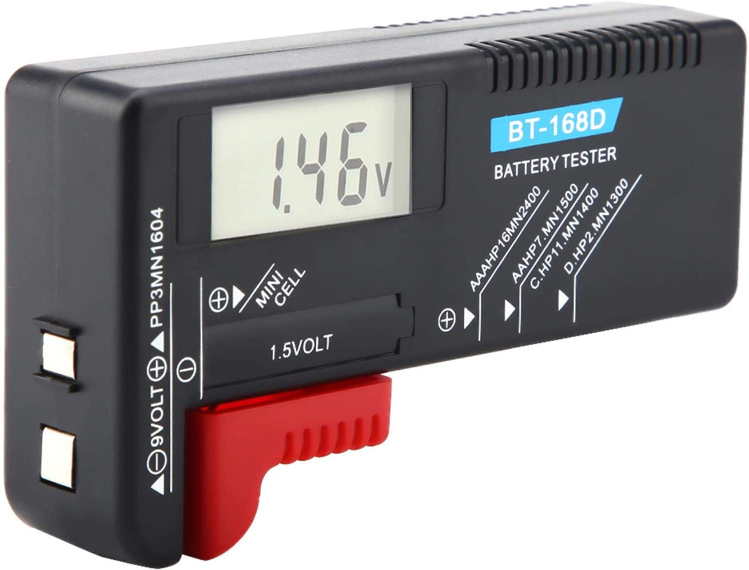 Vbestlife Universal Digital Battery Tester, Digital LCD AA/AAA/C/D/9V/1.5V Button Cell Battery Volt Tester, Quickly Test All Kinds of Batteries