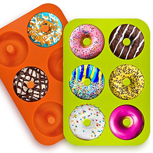 FineGood FG Molds_3 Silicone Doughnut Moulds with 6 Cavities, Non Stick Baking Tray, Heat Resistant, Suitable for Cakes, Biscuits, Bagels, Muffins, Colours: Orange, Pink, Green, Pack of 3