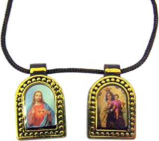 Devotional Scapulars Brown Scapular Medals with Colored Images and Gold Toned Edges on Cord Chain, 26 Inch