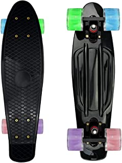 Complete 22inches Cruiser Skateboard for Beginners - Kids Girls Boys Skateboard Plastic Banana Board with Colorful LED Wheels for School and Travel