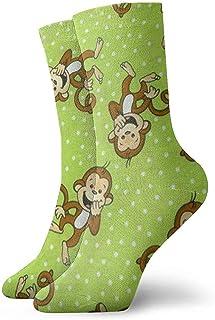 Dydan Tne, Niños Niñas Locos Divertidos Divertidos Calcetines de Mono Verde Calcetines Lindos de Novedad