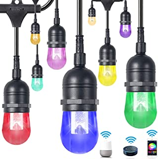 Wellmet 48ft LED Patio Lights String Outdoor Color Changing String Lights, RGB Hanging Decor WiFi Light Dimmable for Gazebo Home Cafe Deck Backyard Christmas Party, Remote with Alexa Google Assistant