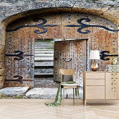 Msrahves fotomurales decorativos pared Puerta marrón retro de madera Fotomurales para Paredes Mural Vinilo Decorativo Decoración comedores,Salones, Habitaciones