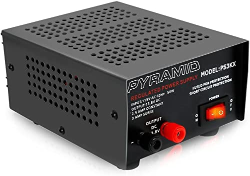Universal Compact Bench Power Supply - 2.5 Amp Linear Regulated Home Lab Benchtop AC-to-DC 12V Converter w/ 13.8 Volt...