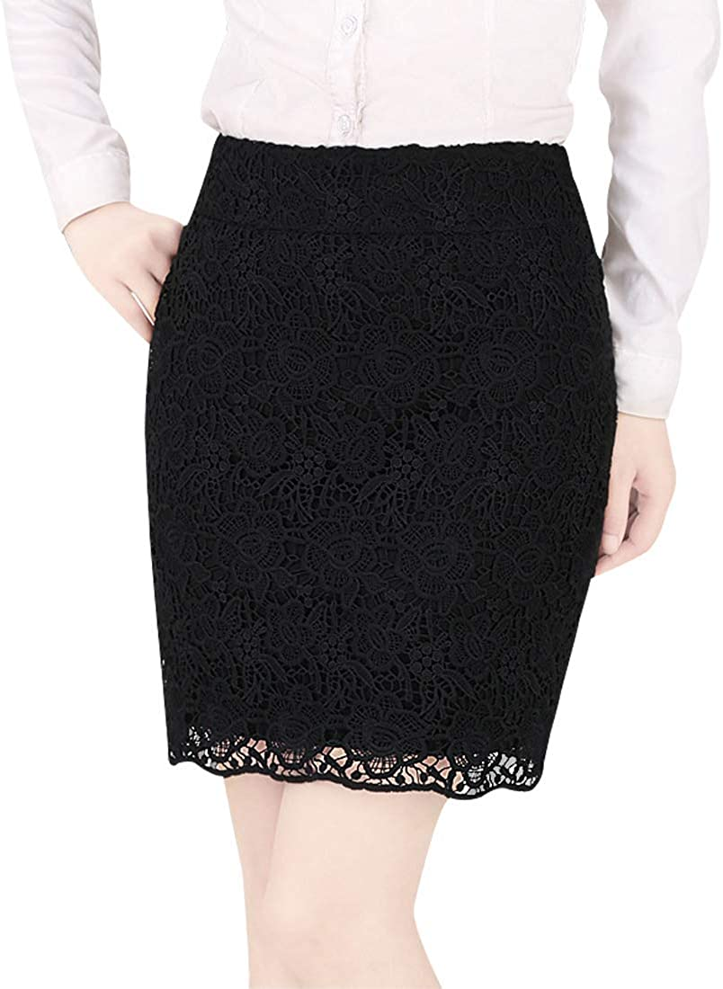 Wincolor Women's Black High Waist Mini Lace Pencil Skirt Business Office Wear to Work