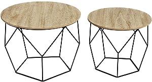LIFA LIVING Tavolino da Salotto Moderno in Set da 2 | Tavolini Bassi da caffè in Stile Geometrico e Vintage | Tavolino d'appoggio in Legno e Metallo Nero | capacità 20 kg