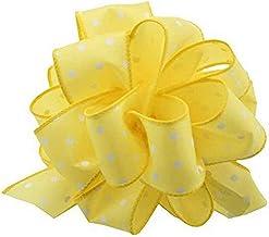 Berwick Offray DWI White Dots Wired Edge Ribbon-1-1/2 Wide X 50 Yards-Yellow Ribbon