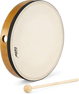 """Eastar Frame Drum Percussion Instrument Musical With Beater Hand Drum Goatskin Drumhead Hand Bell، 10 """""""