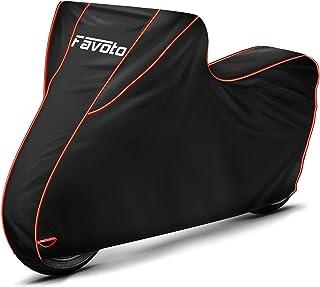 Favoto [Verbeterde versie] Waterdichte motorhoes motorfiets dekzeil motorgarage scooter afdekking XXL outdoor zwart rood 3...