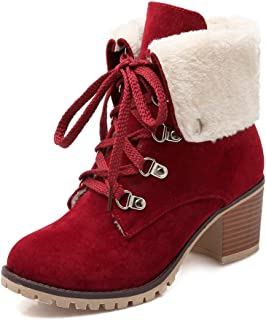 Women's Classic Lace Up Buckle Ankle Boots Ladies Fall Winter Keep Warm Short Boots