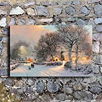 アートプリントキャンバス絵画壁アート1ピースヴィンテージ冬の村雪景色リビングルームプリントポスター家の装飾50x70cmフレームなし