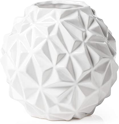 Torre & Tagus 902369B CRUMPLE Ball VASE Large-White