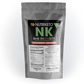 NutriKeto BHB Intensity - Strawberry Lemonade - 10g BHB per Serving - Ketogenic Diet - Exogenous Ketones - Caffeine Free