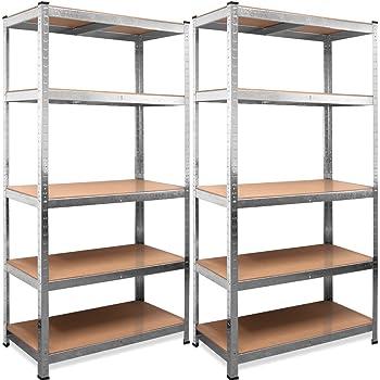 Deuba Set 2 Estanterias Metálicas 5 niveles almacenamiento Carga máxima de 875kg - Taller bricolaje portaherramientas