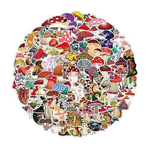 100 Pcs Laptop Stickers Mushroom Waterproof Vinyl Stickers For Water Bottles Laptop Refrigerator Luggage Computer (Color : Random)