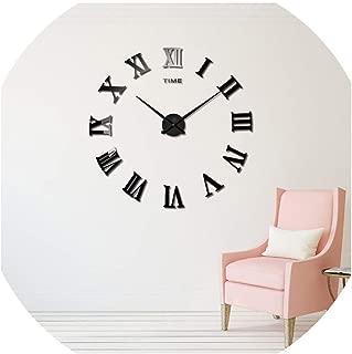Asteria-Ashley HomeDecoration Wall Clock Modern Design Large Size Wall Clocks DIY Wall Sticker Unique Gift,Black,47Inch