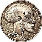 1937 Alien head AB recuerdo monedas coleccionables 3D antiguo...