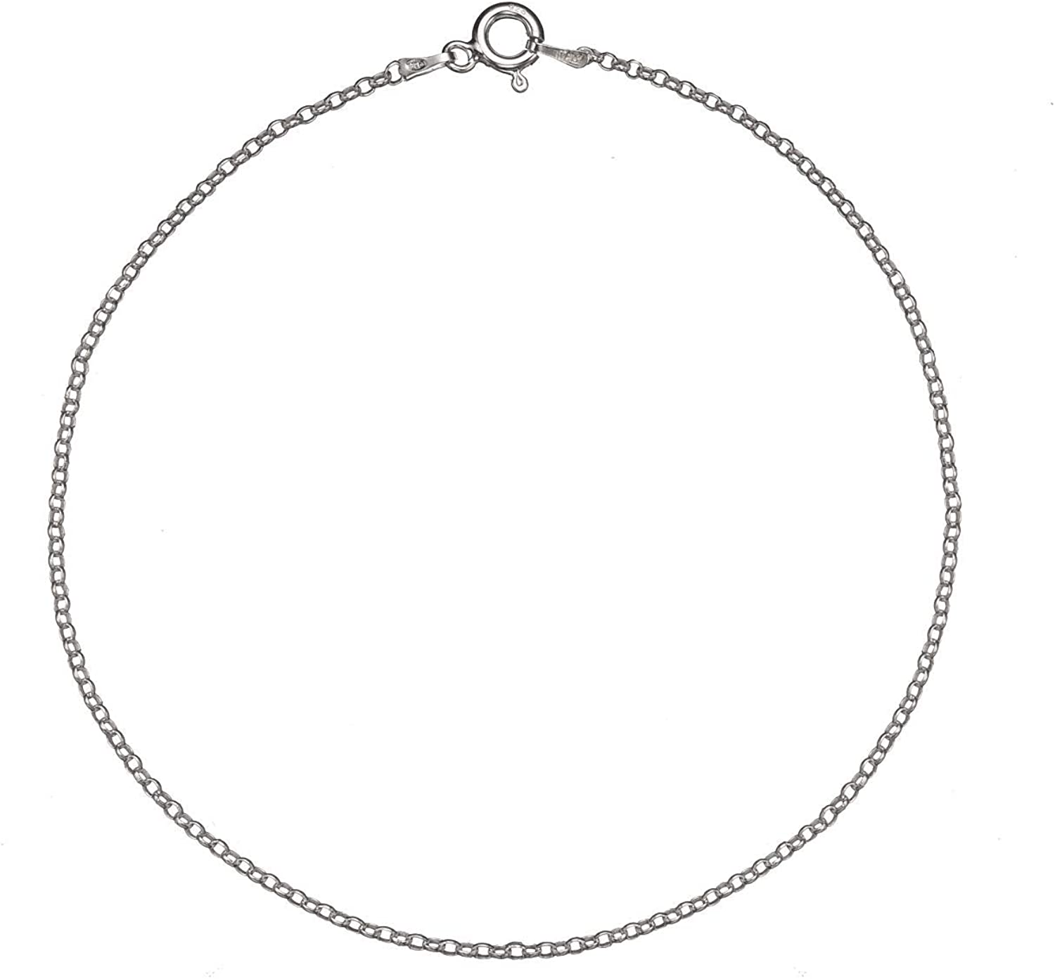 Adjustable Made In Italy - Sterling Silver Anklet YD Cable /& Bead Chain