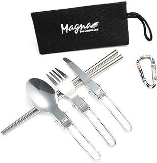 MAGNA(マグナ) カトラリー 武器 フォーク スプーン ナイフ つなぎ箸 カラビナ お箸も入る収納袋付き (シルバー)