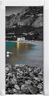 3D Door Sticker Poster Mural Paper Lake Boat Mountain Door Sticker Home Homepage Picture Picture Children'S Room Kindergar...