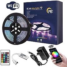 Tira de luces LED RC de 16.4ft 5050 RGB WIFI LED tiras IP65 resistente al agua millones de colores Smart Light APP de control de tiras trabaje con Android, IOS, Alexa, Siri, IFTTT (16.4ft (5 m)