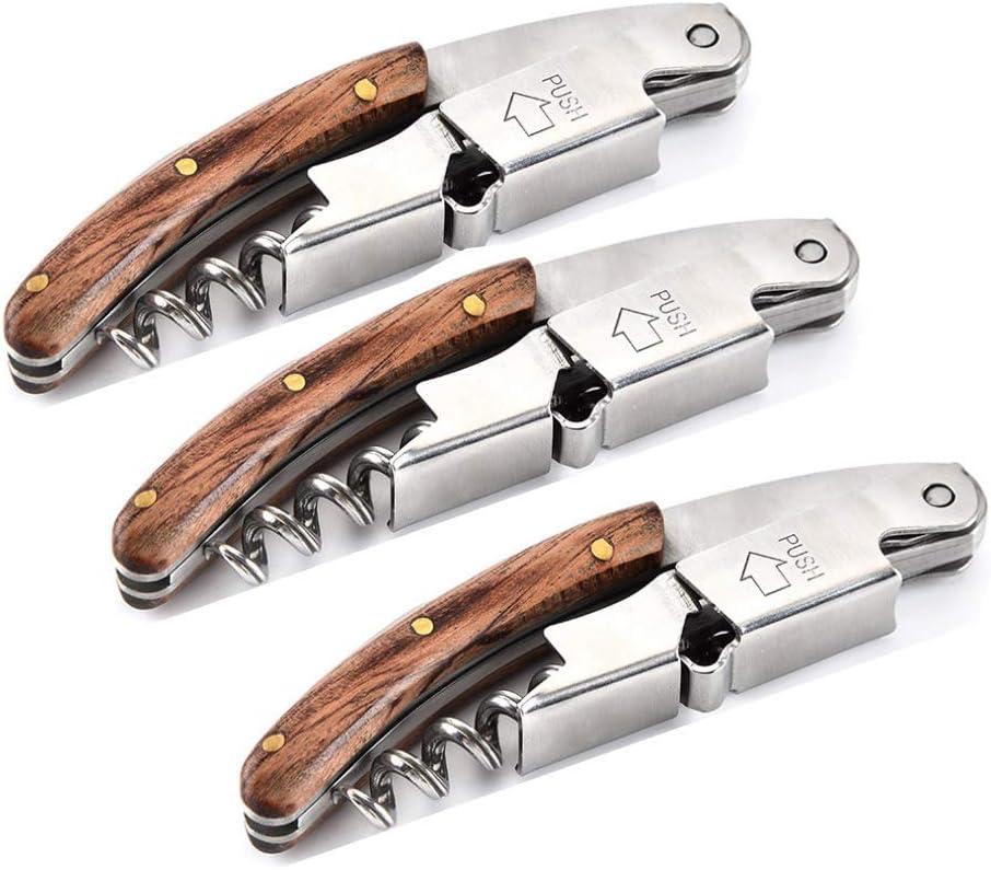 Professional Waiter Corkscrew Wine Key for Bartenders Set of 3,With Rose-Wood Handle Stainless Steel Handle Wine Tool Wine Opener for Bar Restaurant Waiters, Sommelier, Bartenders