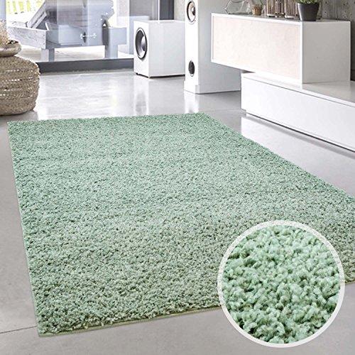 carpet city Shaggy Teppich Hochflor Langflor Pastell Einfarbig Uni Modern in Mintgrün für Wohnzimmer; Größe: 140x200 cm