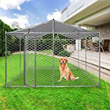 LONABR Metal Dog Kennel Puppy Playpen with/Without Water-Resistant Cover,Heavy Duty Outdoor Cage for Large Dogs with Lockable (10x10x7.5 ft)