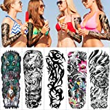 Konsait Large Temporary Tattoos Full Arm Tattoo Sleeves, Temporary Sleeve Tattoos, Large Fake Body Art Arm Chest Shoulder Tattoo,Extra Black Tattoo Body Stickers for Man Women(5 Sheet)