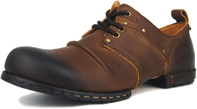 Suetar herr Vintage läder Chukka stövlar Springaa Springaa Springaa och Autumn Low -Top Round -Toe och Lace -up Nubuck läder skor for män  här har det senaste