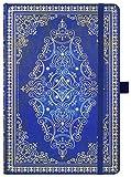 2021 Kalender, 2021 Kalender A5 Woche zum Anzeigen des Tagebuchs von Januar 2021 bis Dezember 2021, Vintage Tagebuch mit 88 Notizseiten und Aufklebern, Blau