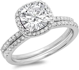 10K Gold Cushion Created White Sapphire & Round White Diamond Bridal Halo Engagement Ring Set