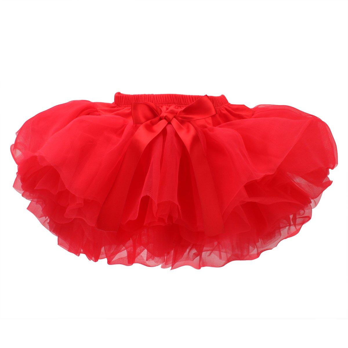 COTTON FAIRY Baby Girls Tutu Skirt Infant Tutus 5 Layers Tulle Dress White