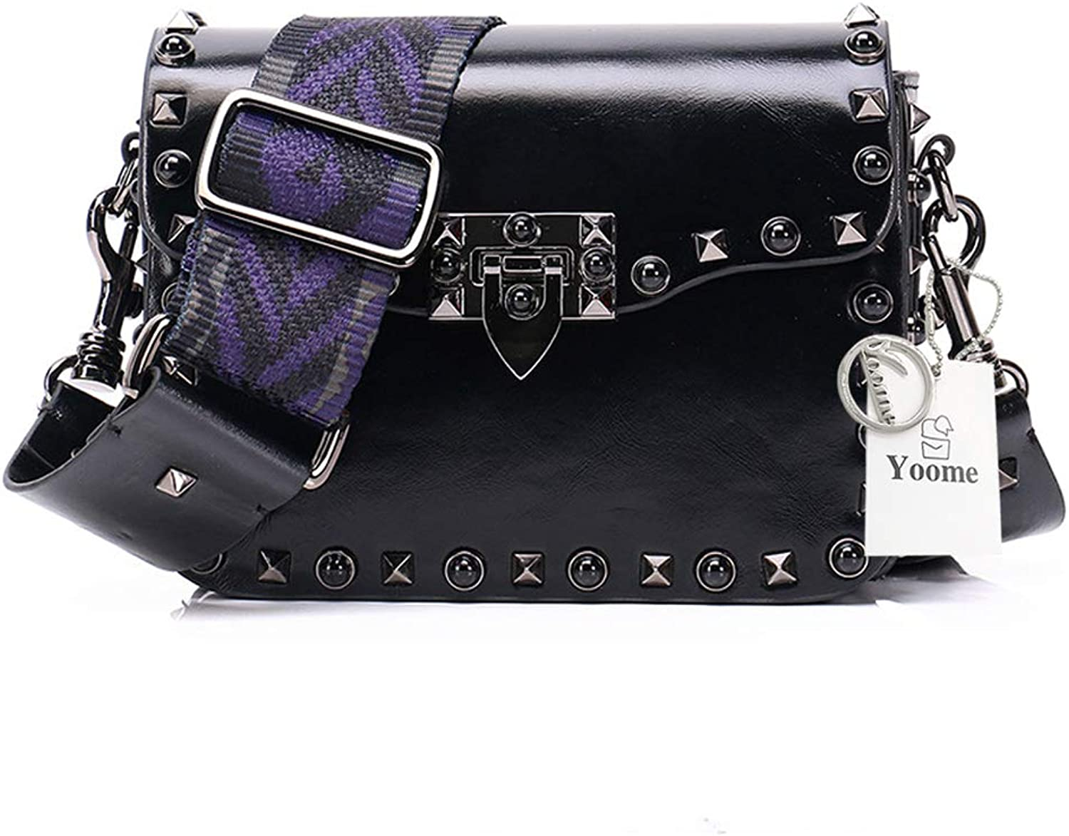 Yoome Small Rivets Shoulder Bag for Women Cowhide Crossbody Bag Messenger Purse