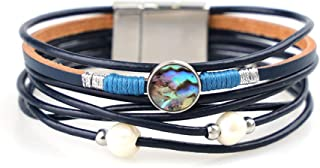 TSANLY Multi-Layer Leather Bracelet Bohemian Bangle with Alloy Magnetic Clasp Braided Wrap Cuff Bangle Jewelry for Women